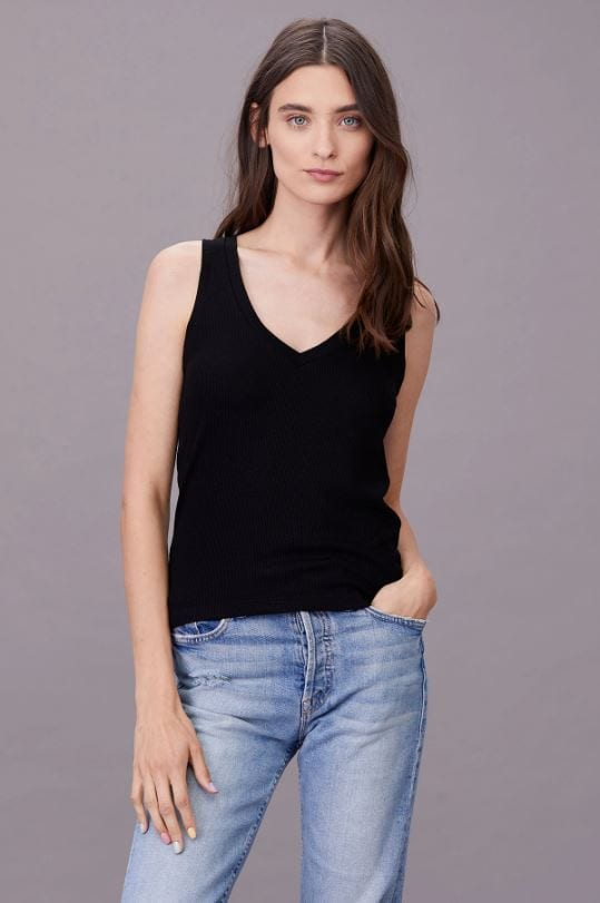 RIBBED V SLIM TANK BLACK