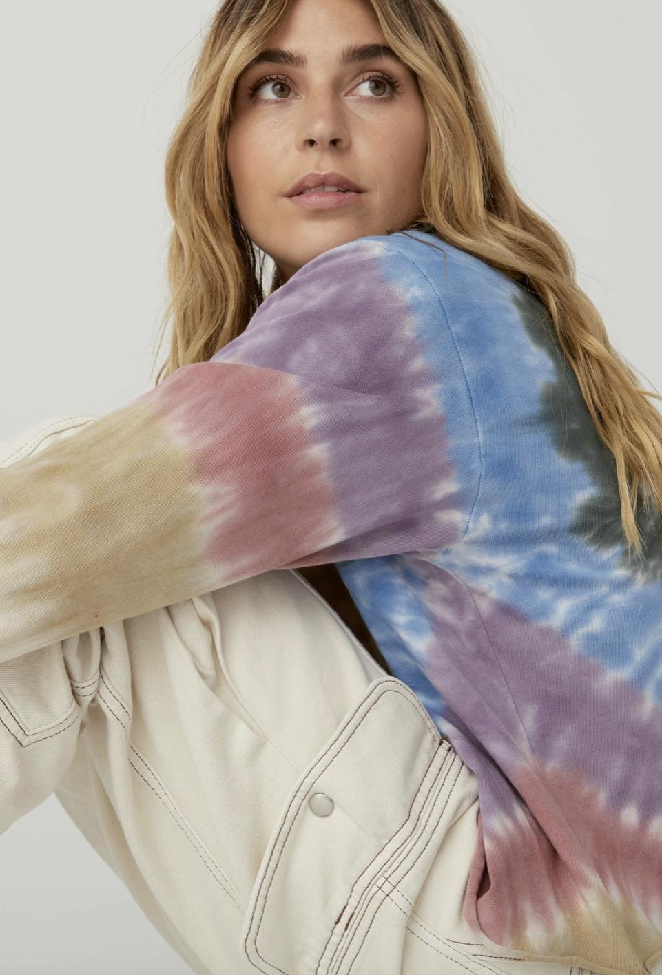 Autumn Tie Dye Long Sleeve Crop