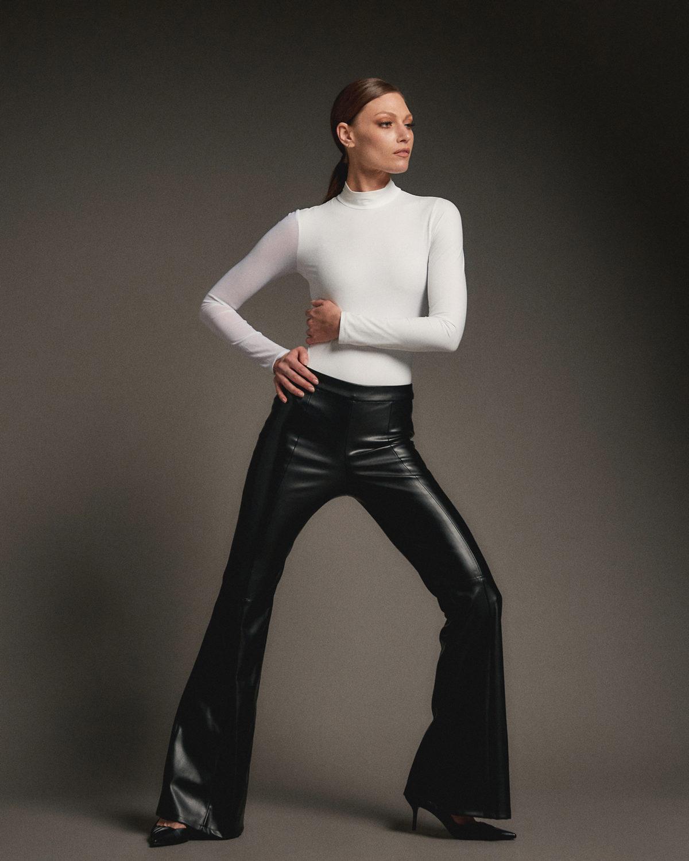 Farrah Flare Faux Pants Leather