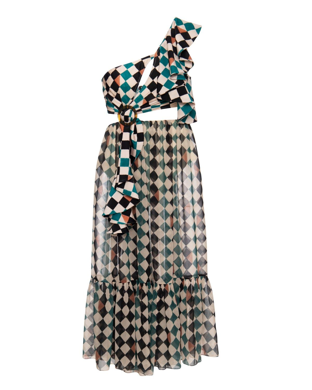 Check Print One Shoulder Beach Dress
