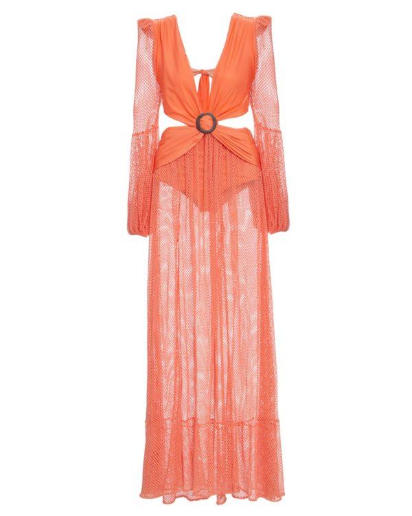 Long Sleeve Mesh Beach Dress