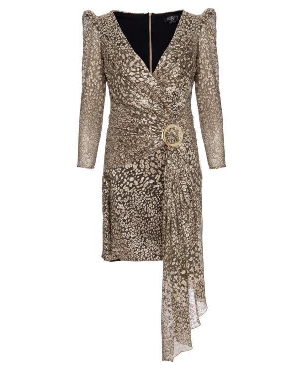 Metallic Leopard Drape Mini Dress
