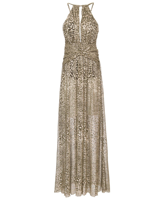 Metallic Leopard Keyhole Maxi Dress