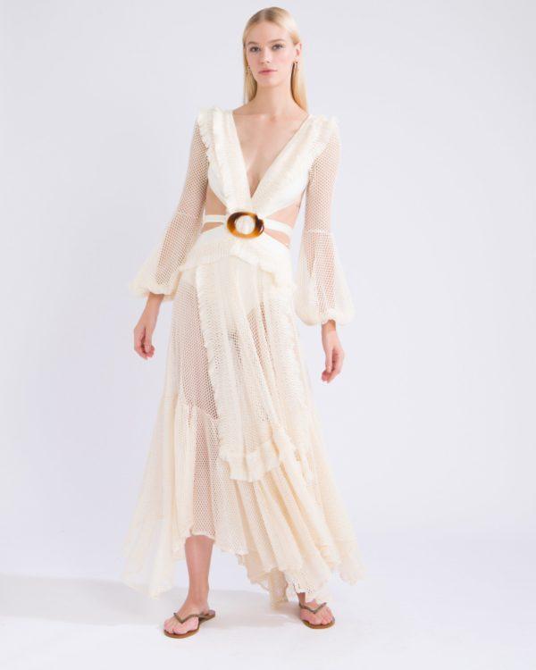 Long Sleeve Fringe Cutout Dress